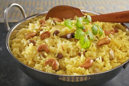 Indian basmati rice pilau on dark background