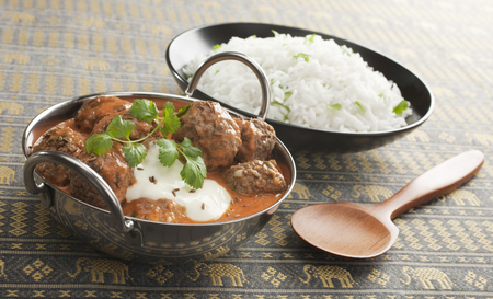 Indian meal of kofta curry and rice Stock Photo