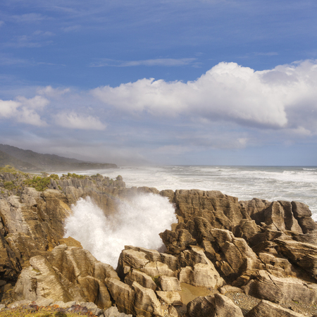 Pancake Rocks New Zealand Stock Photo