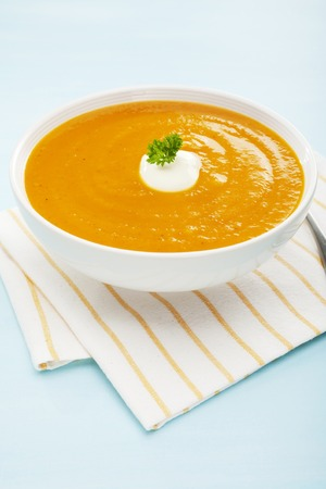 Pumpkin Soup Sweet Potato Carrot Copy Space Above Below Vertical
