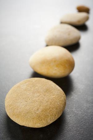 Diagonal Line of Brown Pebbles on Dark Background
