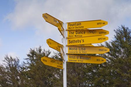 Sign Post Art Works Christchurch New Zealand Banco de Imagens