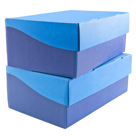 Two shoe boxes, stacked one on top of the other. Isolated on white, clipping path provided.