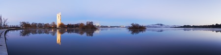 Panorama of Lake Burley Griffin in Canberra, Australia at dawn.