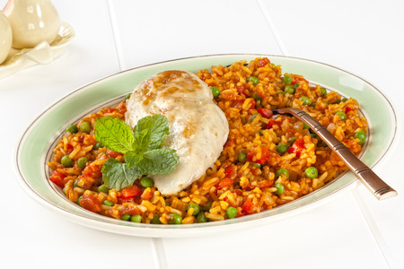 Spanish rice with chicken, also known as arroz con pollo.
