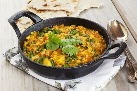 Dhal Indian Spicy food in a Balti Dish Stock Photo - 109680511
