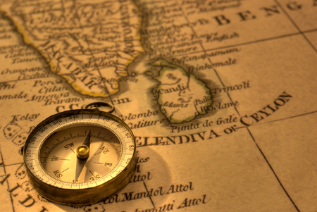 Compass and Old Map India