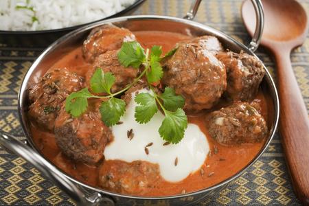 Indian Meatball or Kofta Curry in a Balti Dish Stock Photo