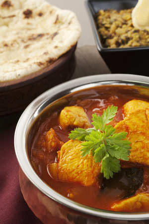 Madras Chicken Indian Curry Naan Bread Dhal Dal Food Meal