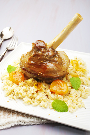 Lamb Shank with Apricot Tagine Stock Photo