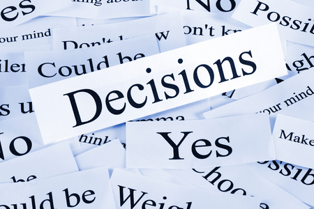 Decisions Concept in Words Banco de Imagens