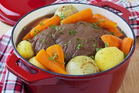 Beef Pot Roast in a Red Pot