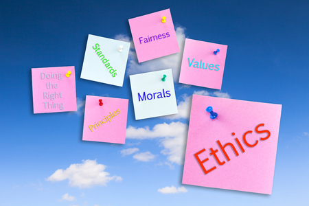 Ethics Concept on Blue Sky with colorful Notes