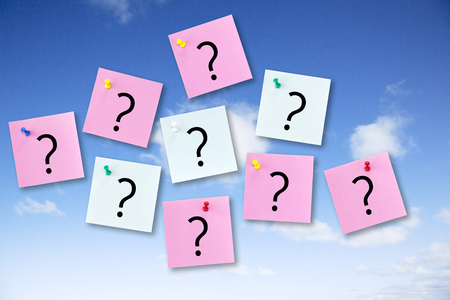 Question Concept on Blue Sky with colorful Notes