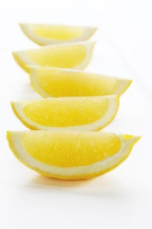 Lemon Wedges on White Background Stok Fotoğraf