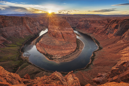 Sunset at Horseshoe Bend Glen Canyon Arizona Фото со стока