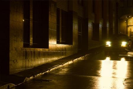 Night - Wet Night in the City Stock Photo