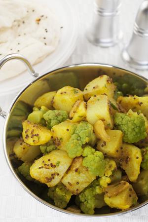 Aloo Ghobi Cauliflower Potato Curry Indian Vegetarian Food Meal Stock Photo