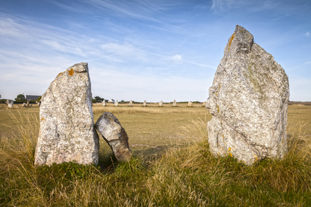 Standing Stones, Lagatjar, Camaret-sur-Mer, Brittany, France 写真素材