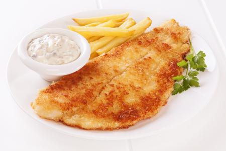 Breaded Fish on White Фото со стока