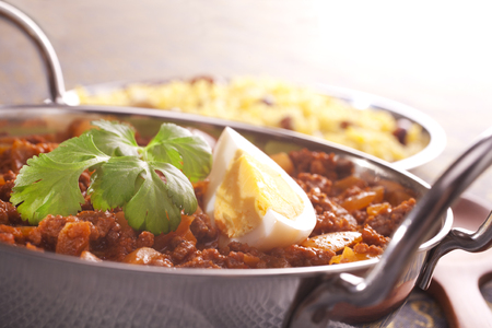 Keema Curry with Egg Stock Photo