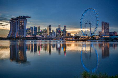 Singapore Skyline Reflected in Marina Bay Editorial