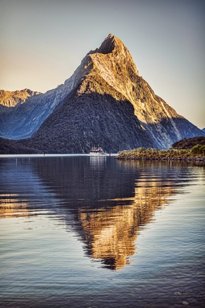 Milford Sound New Zealand Vertical at Sunrise