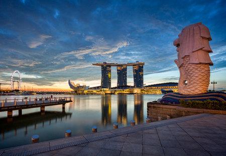 Singapore Skyline at Dawn Editorial