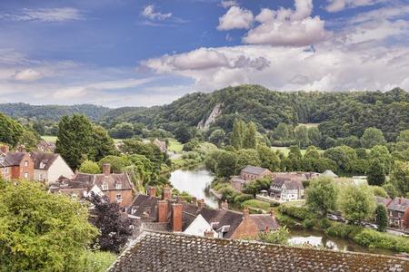 Bridgnorth, Shropshire, rivière Severn et ville d'en haut