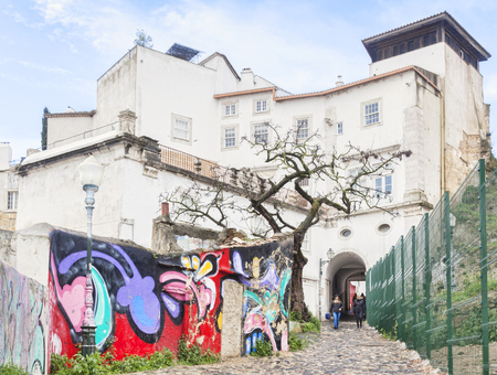 Graffiti Mural Moorish Castle Lisbon Porugal