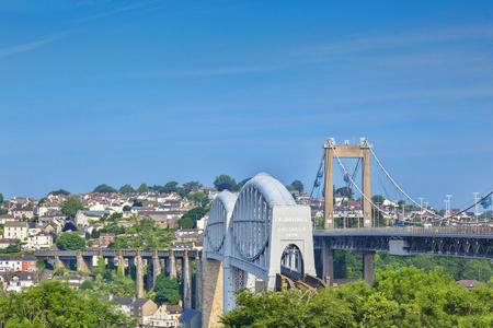 Tamar Bridge and Royal Albert Bridge Plymouth UK