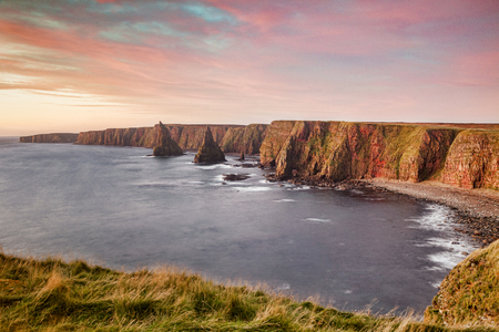 Duncansby Head and Stacks, John o Groats, Scotland 스톡 콘텐츠