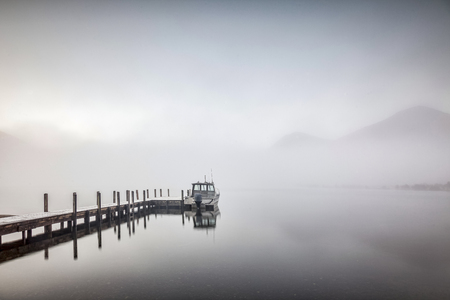 Jetty and Fog Lake Rotoroa New Zealand