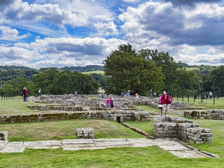 Tourists at Chesters Roman Fort Northumberland UK