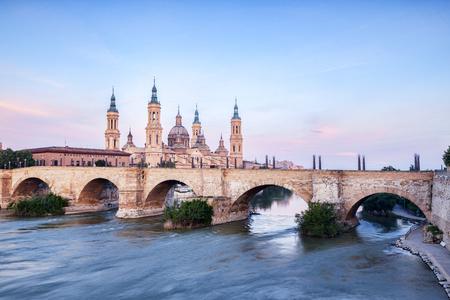 Zaragoza, Spain Catholic Basilica Reflected in River Ebro