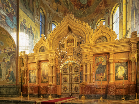 Interior Church on the Spilled Blood St Peterburg Russia
