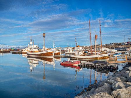 Husavik Harbour, Iceland, in Spring