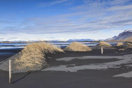 Black Sand Dunes at Vestrahorn, South Iceland 版權商用圖片