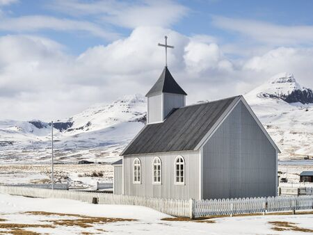 Church at Bakkagerdi, Iceland Archivio Fotografico