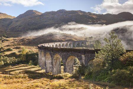 Glenfinnan Viaduct, Lochaber, Highland, Scotland, UK on a beautiful autumn day