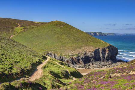 Cornish Cliffs at Porth Chapel Beach and the South West Coast Path, Cornwall, UK 版權商用圖片