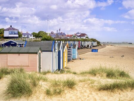 Beach and Huts, Southwold, Suffolk Archivio Fotografico - 133524415