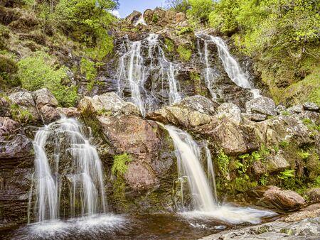 Rhiwargor Waterfall Wales UK Archivio Fotografico