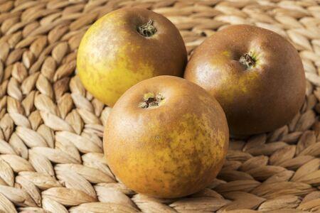 Egremont Russet Apples on a Banana Leaf Mat