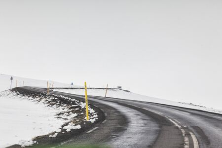 Tarmac Road East Iceland Snow and Fog
