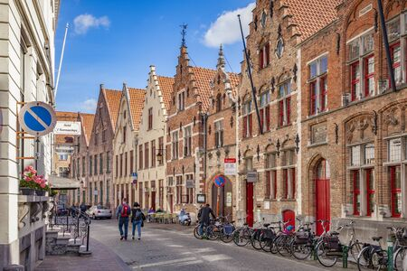 Bruges, Belgium, Hisoric Street with Beautiful Buildings