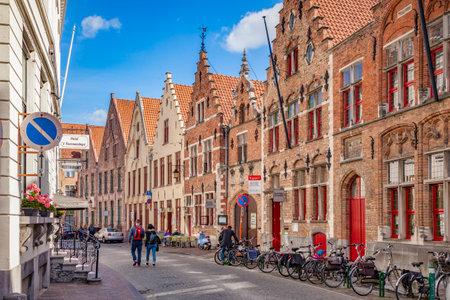Bruges, Belgium, Hisoric Street with Beautiful Buildings Archivio Fotografico - 138054810