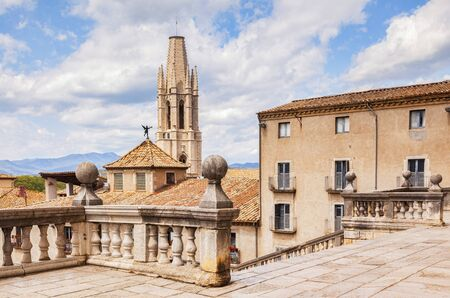 Girona Spain Sant Feliu Collegiate Church Archivio Fotografico - 137783350