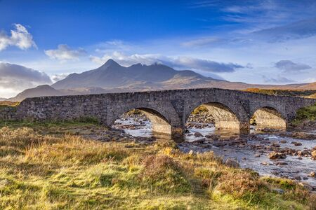 The old bridge at Sligachan and the Cuillins, Isle of Skye, Inner Hebrides, Highland, Scotland, UK