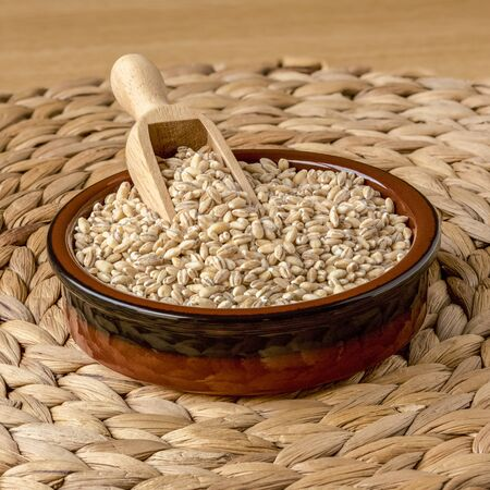 Pearl Barley in a Bowl with a Scoop, Focus Stack 免版税图像